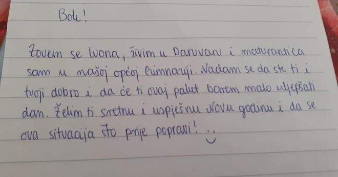 Poruka koju je Ivona poslala nepoznatoj prijateljici na potresom pogođenom području / Foto: Privatni album